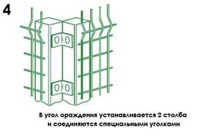 монтаж, установка углового столба
