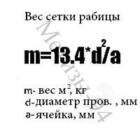 Формула розрахунку ваги рабиці